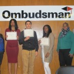 (Photo credit: Ombudsman Chicago) Pictured at the February graduation (left to right) are: Ombudsman Vice President of Center Operations, Sue Fila; students Calvalina Lloyd, Christopher Pineda, Gabrielle Morris, Diana Williams (mother of graduate, Malik Williams) and Ombudsman Chicago Principal Dr. Chaun Johnson.
